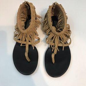 Diane Von Furstenberg T strap fringed sandal tan 8